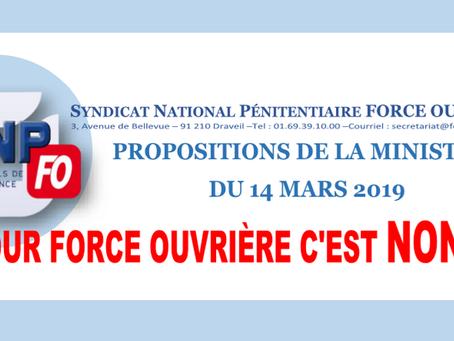 Propositions de la Ministre du 14 Mars 2019 : Pour Force Ouvrière c'est NON !!!!