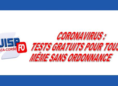 Coronavirus : Tests gratuits pour tous même sans ordonnance