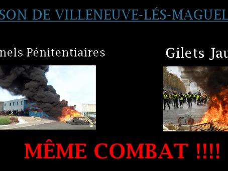 Prison de Villeneuve-lés-Maguelone : Personnels pénitentiaires et Gilets Jaunes même combat !!!