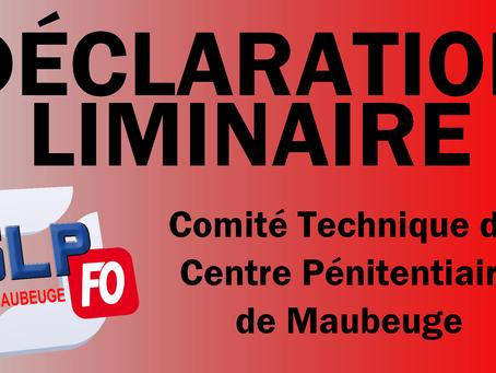 Prison de Maubeuge : Déclaration liminaire Comité Technique du 15 Octobre 2019