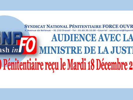 Audience avec la Ministre de la Justice : FO Pénitentiaire reçu le Mardi 18 Décembre 2018