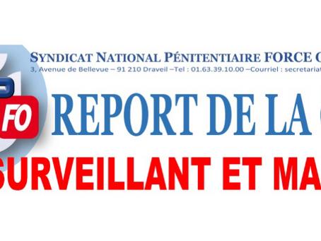 Report de la CAP 1er surveillant et Major