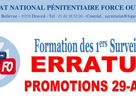 Formation des 1ers Surveillants : ERRATUM Promotions 29-A/B