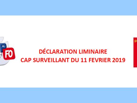 Déclaration liminaire : CAP Surveillant du 11 Février 2019