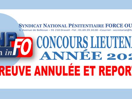 Concours Lieutenant Année 2020 : Épreuve annulée et reportée