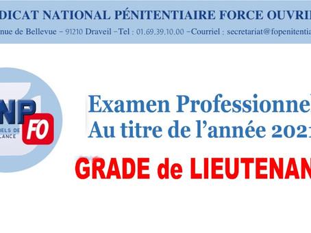 Examen professionnel au titre de l'année 2021 : Grade de Lieutenant