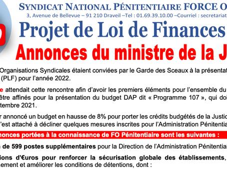 Projet de Loi de Finances 2022 : Annonces du Ministre de la Justice