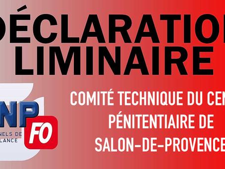 Prison de Salon-de-Provence : Déclaration liminaire lors du Comité Technique