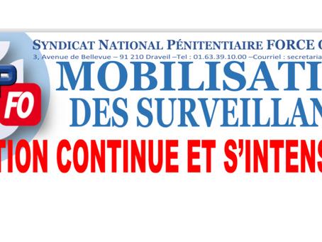 Mobilisation des surveillants : L'action continue et s'intensifie !