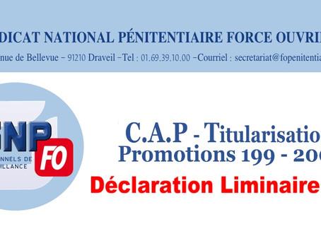 CAP - Titularisation Promotions 199 - 200 : Déclaration liminaire