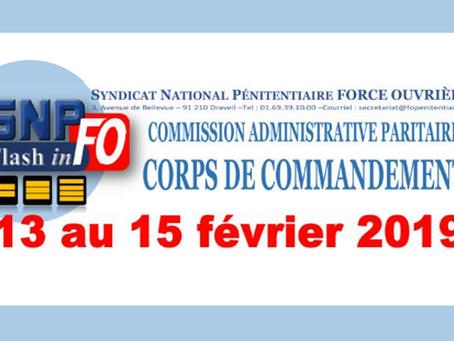 Commission Administrative Paritaire Corps de Commandement du 13 au 15 février 2019