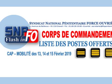 Corps de Commandement : Liste des postes offerts