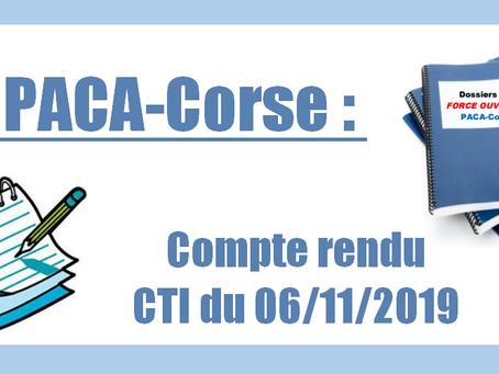 DI PACA-Corse : Compte rendu CTI du 06/11/2019