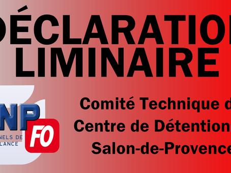 Prison de Salon-de-Provence : Déclaration liminaire Comité Technique
