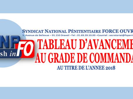 Tableau d'avancement au grade de commandant : Au titre de l'année 2018