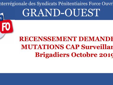 DI de Rennes : Recensement demandes de mutations CAP Surveillants et Brigadiers Octobre 2019