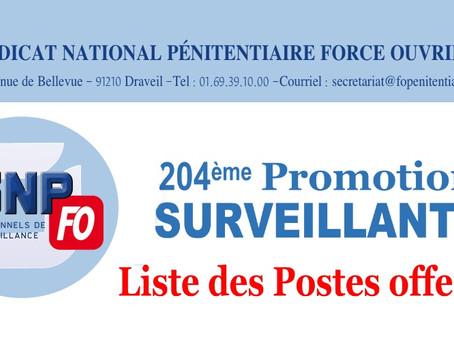 204ème Promotion de Surveillants : Liste des postes offerts