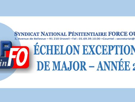 Échelon exeptionnel de Major - année 2018 : FO Pénitentiaire entendu !