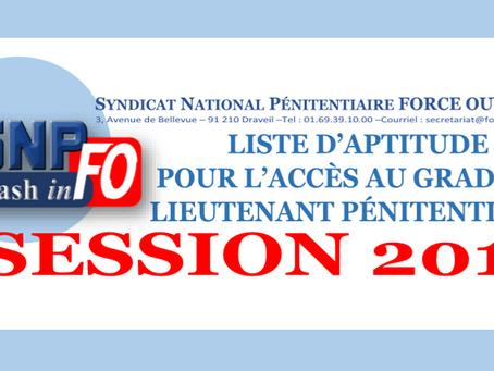 Liste d'aptitude pour l'accés au grade de Lieutenant Pénitentiaire : Session 2019