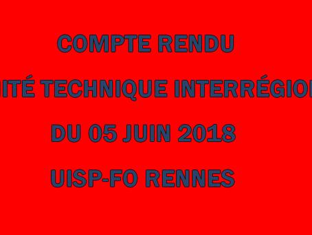 UISP-FO Rennes : Compte rendu Comité Technique Interrégional du 05 juin 2018