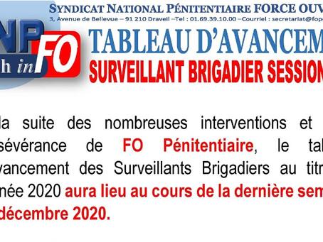 Tableau d'avancement : Surveillant Brigadier session 2020