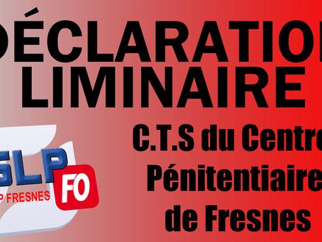 Prison de Fresnes : Déclaration liminaire CTS du 12 Novembre 2019