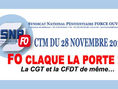 CTM du 28 novembre 2018 : FO claque la porte !!! La CGT et la CFDT de même...
