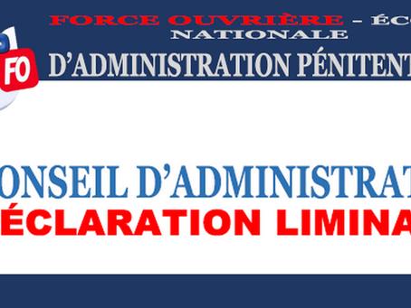 Conseil d'Administration : Déclaration Liminaire