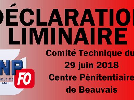 Prison de Beauvais : Comité Technique du 29 Juin 2018