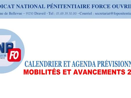 Calendrier et agenda prévisionnels : Mobilités et avancements 2021