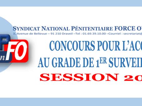 Concours pour l'accés au grade de 1er Surveillant : Session 2019