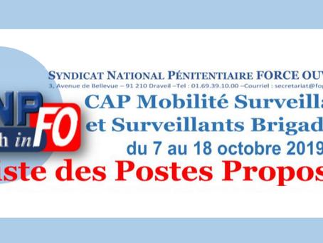CAP mobilité Surveillants et Surveillants-Brigadiers du 07 au 18 Octobre 2019 : Liste des postes pro