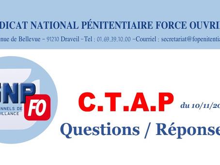 C.T.A.P du 10/11/2020 : Questions / Réponses
