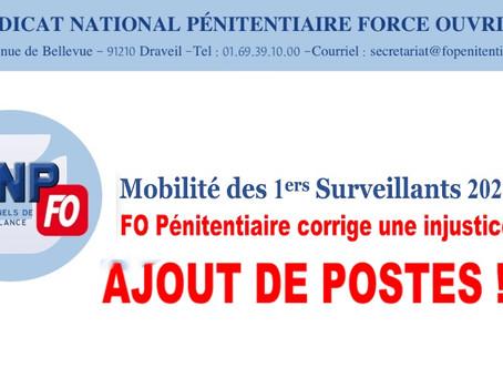 Mobilité des 1ers Surveillants 2021 FO Pénitentiaire corrige une injustice : Ajout de postes !!!