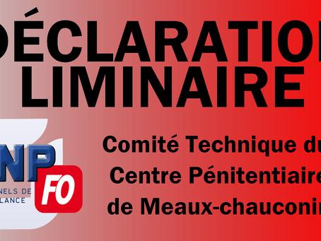 Prison de Meaux-Chauconin : Déclaration liminaire CT du 18 Juin 2019