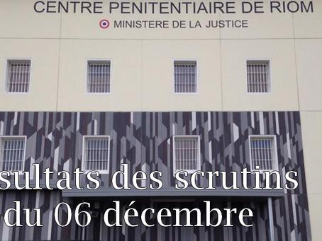Prison de Riom : Résultats des scrutins du 06 décembre