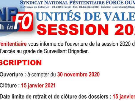 Unités de valeur : Session 2020