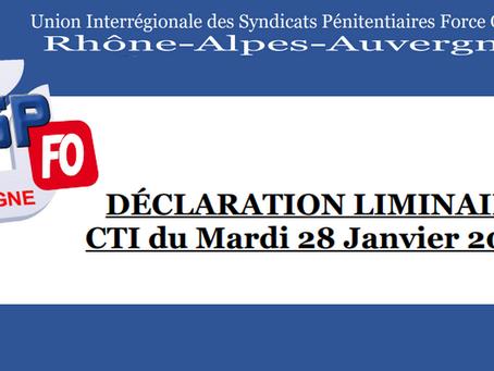 DI de Lyon : Déclaration liminaire CTI du Mardi 28 Janvier 2020