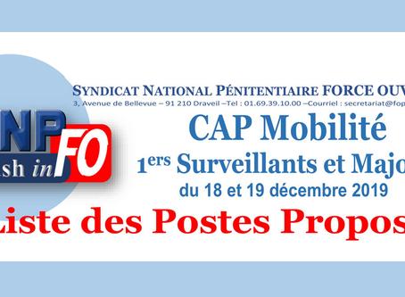 CAP Mobilité 1ers Surveillants et Majors du 18 et 19 décembre 2019 : Liste des postes proposés