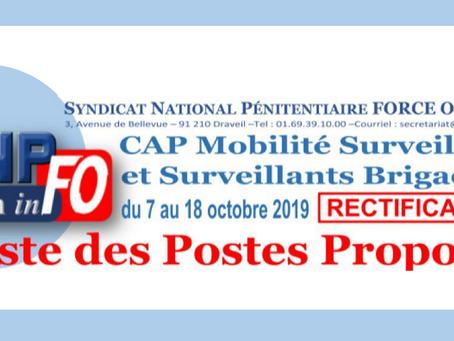 Cap Mobilité Surveillants et Surveillants Brigadiers du 07 au 18 Octobre 2019 : Liste des poses prop