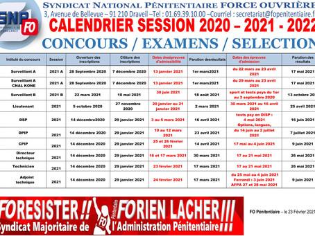 Calendrier session 2020 - 2021 - 2022 : Concours/Examens/Sélection