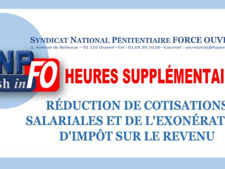Heures Supplémentaires : Réduction de cotisations salariales et de l'éxonération d'impôt sur
