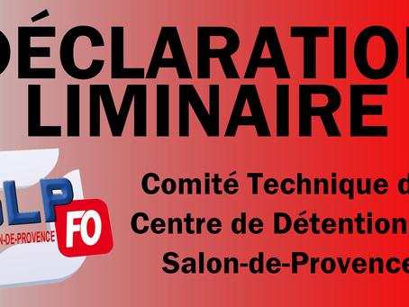 Prison de Salon-de-Provence : Comité Technique du Centre de détention