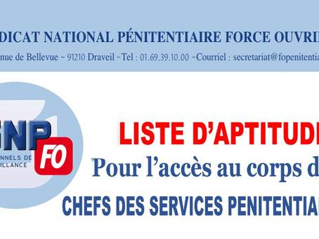 Liste d'aptitude : Pour l'accès au corps des chefs des services pénitentiaires