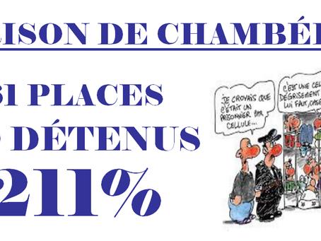 Prison de Chambéry : 61 places 129 détenus, 211%