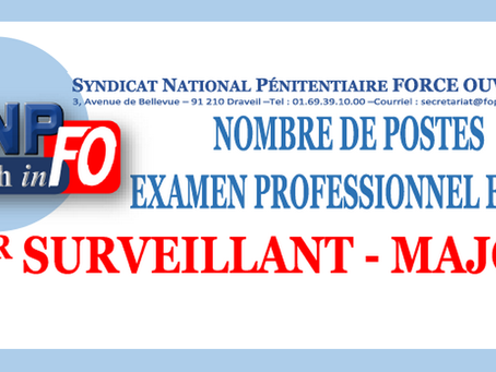 Examen Professionnel et T.A 1er Surveillant-Major : Nombre de Postes