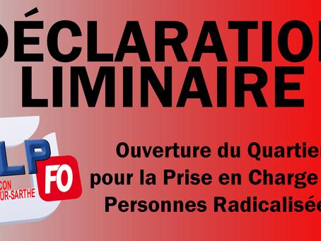 Prison de Condé-sur-Sarthe : Ouverture du Quartier pour la Prise en Charge des Personnes Radicalisée