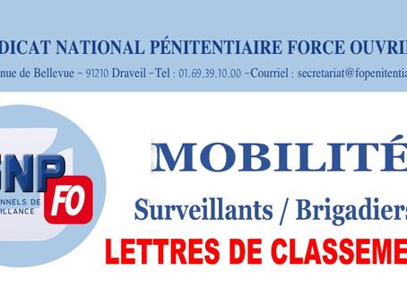 Mobilité Surveillants / Brigadiers : Lettres de classement