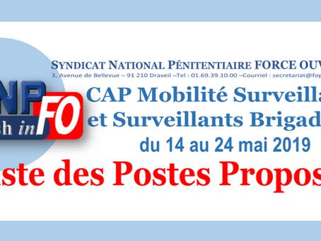 CAP Mobilité Surveillants et Surveillants Brigadiers du 14 au 24 Mai 2019: Liste des postes proposés