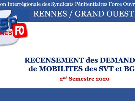 Recensement des demandes de mobilités des Surveillants et Brigadiers : 2nd Semestre 2020